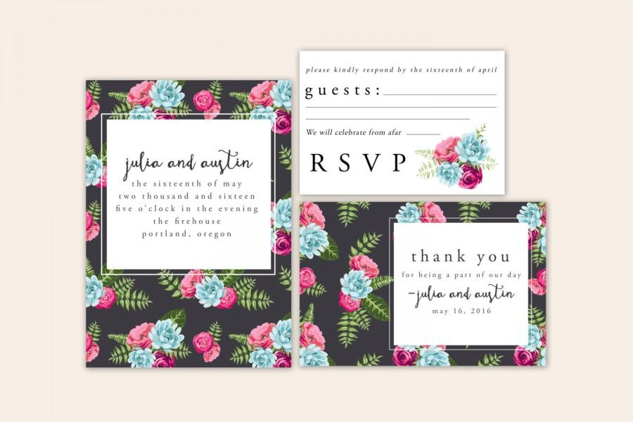 Wedding - Patterned Floral Wedding Suite - customized printable