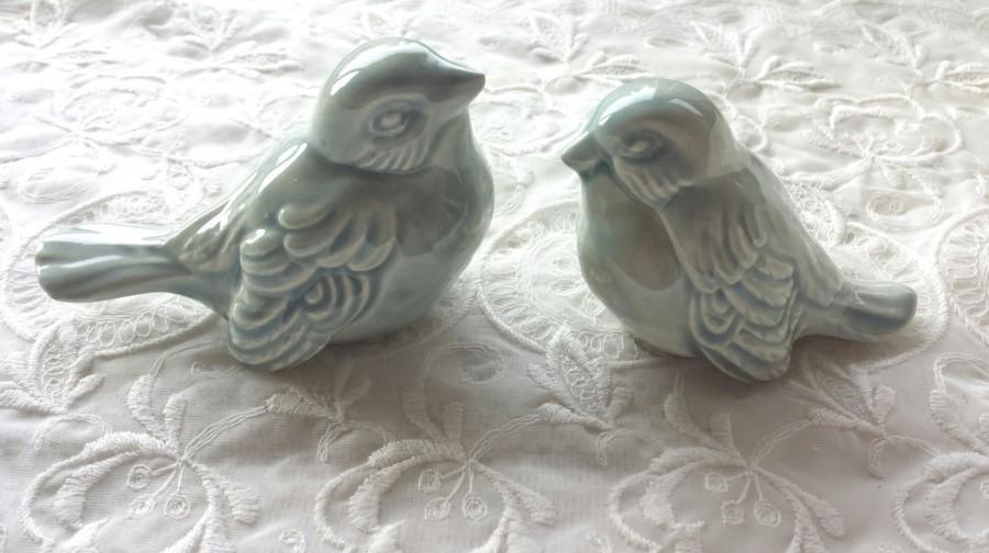 Wedding Cake Topper Love Birds Wedding Favors Ceramic Birds Celedon ...
