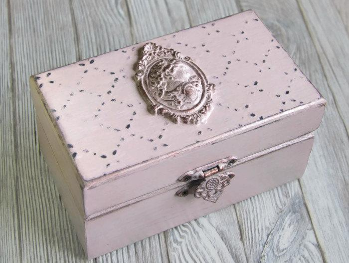 Shabby Chic Pink Jewelry Box Personalized Ring Bearer Wedding Decorations