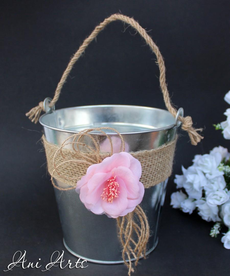 Flower Basket Wedding Bridal Champagne Rustic Bucket Burlap
