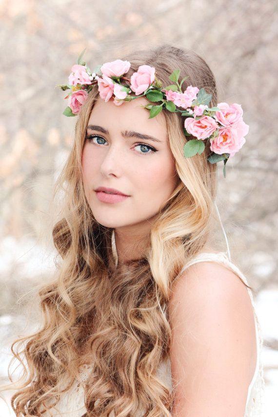 Свадьба - Flower Crown, Pink Rose Wreath, Bridal Hair, Woodland Wedding, Rustic Headpiece