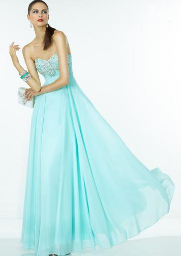 Hochzeit - Crystals Zipper Sweetheart Chiffon Floor Length Blue Sleeveless