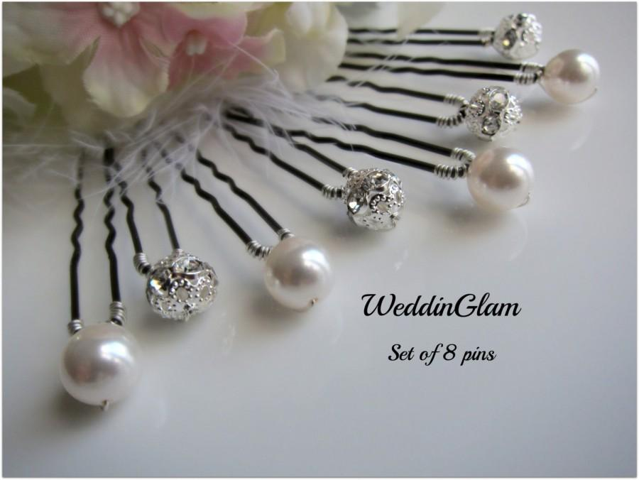 Свадьба - Wedding hair clips, Bridal Hair Accessories, Swarovski ivory pearls, Silver Rhinestone ball, Bridesmaid Hair do, Bridal accessories