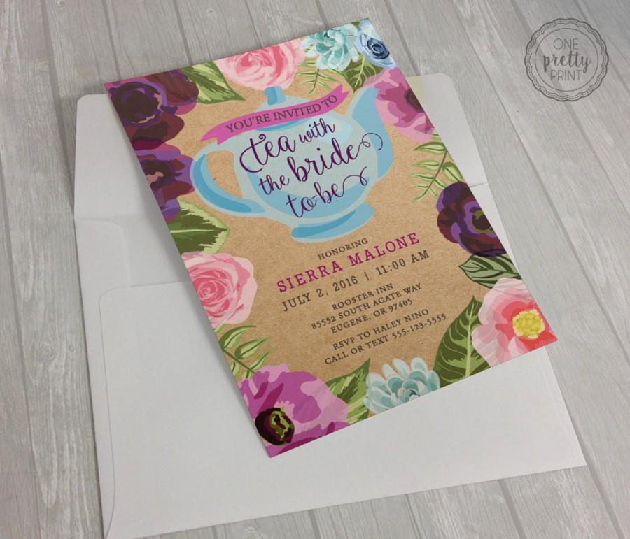 Mariage - Floral Bridal Shower Tea Party Invitation on Premium Kraft Paper with White Envelopes