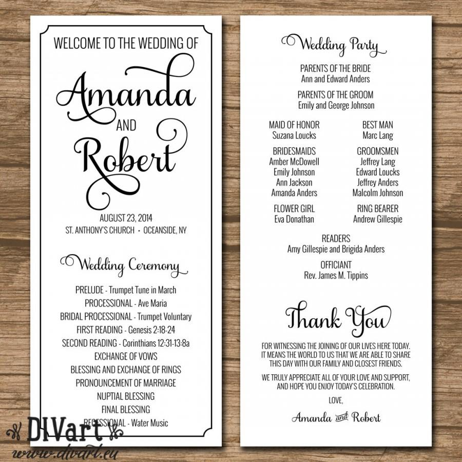 elegant wedding program ceremony program printable files rustic