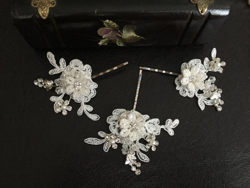 Mariage - Bridal Hair Accessories, Wedding Head Piece, Ivory  Lace, Pearl, Rhinestone, Hair Pin