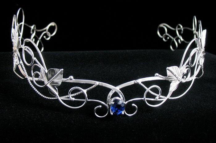 Mariage - Renaissance Woodland Bridal Circlet Headpiece, Bridal Circlet Elvish, Wedding Headpiece, Sterling Silver Handmade Circlet, OOAK Circlet
