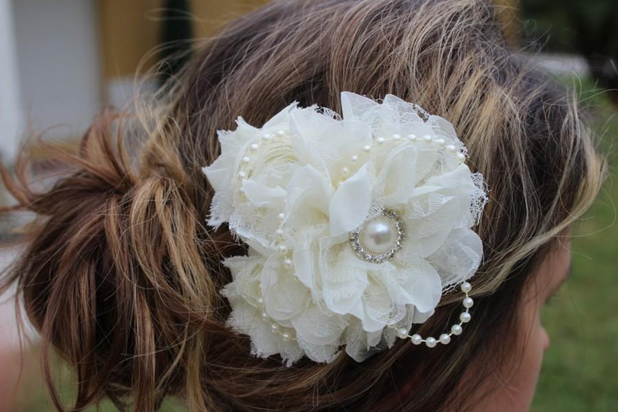 Mariage - Ivory bridal fascinator cream flower girl hair clip ivory hair bow cream hair accessory ivory bow toddler girl hair bow clips ivory
