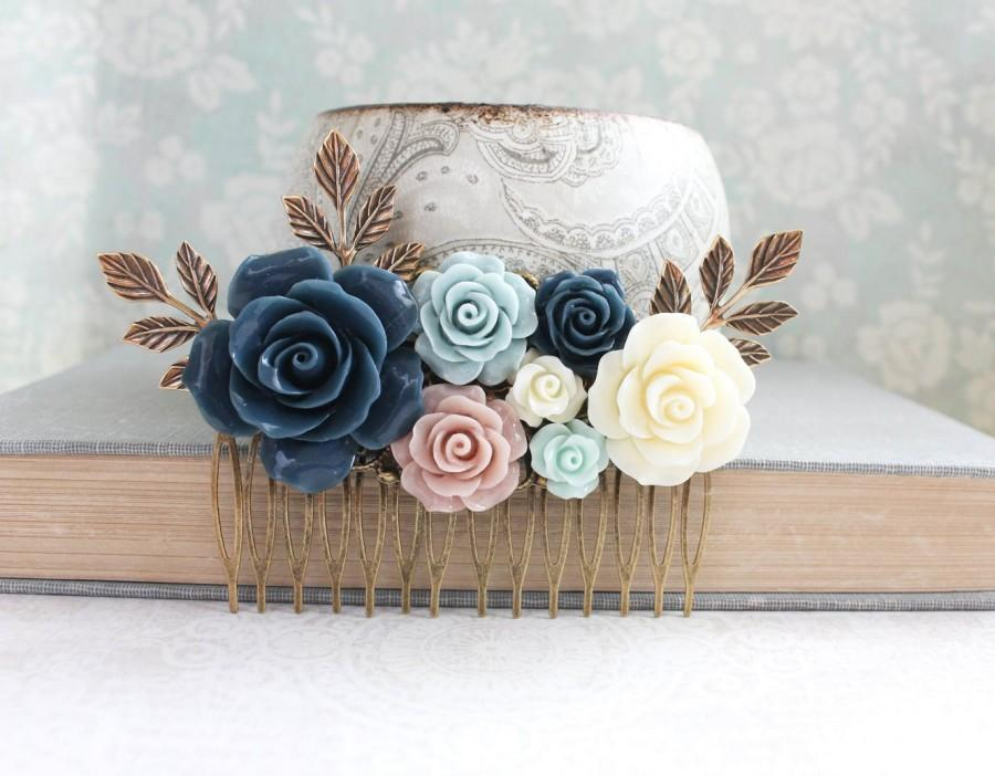 Wedding - Big Rose Hair Comb Romantic Floral Collage Navy Blue Rose Cream Ivory Flower Hair Piece Blush Pink and Blue Leaf Bridal Comb Bridemaid Gift