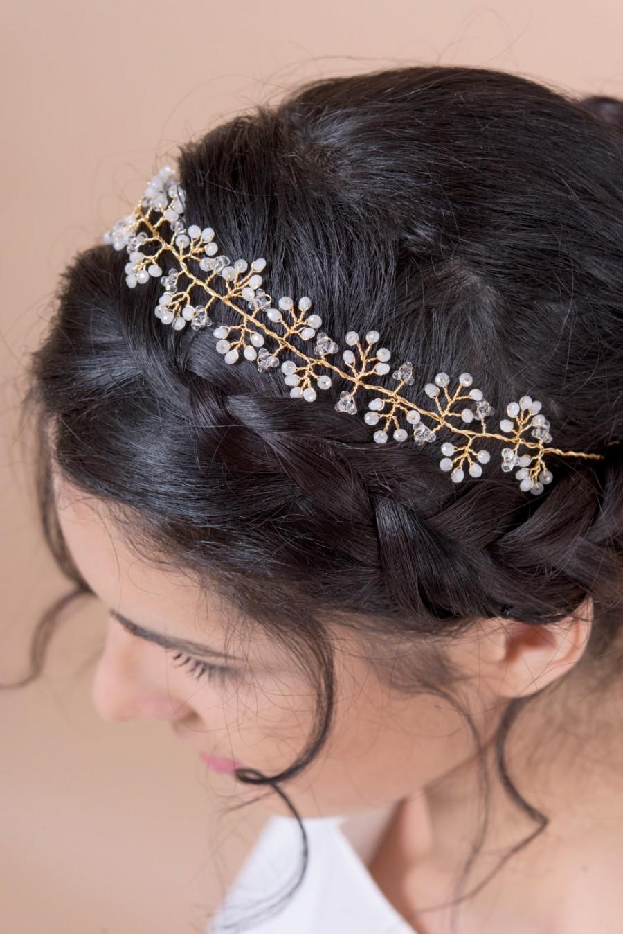 Mariage - Hair vine headband bridal hair accessories hair wreath with hand wired crystals