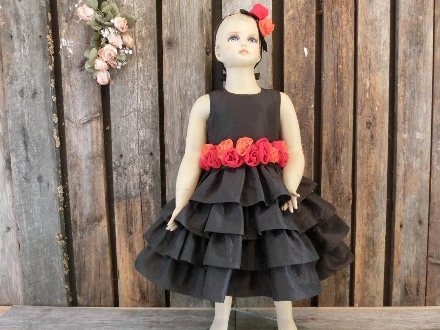 Wedding - Fall flower girl dress. Orange,red and brown flower girl dress. Chocolate flower girl ruffle dress. Rustic fall wedding Autumn flower girl
