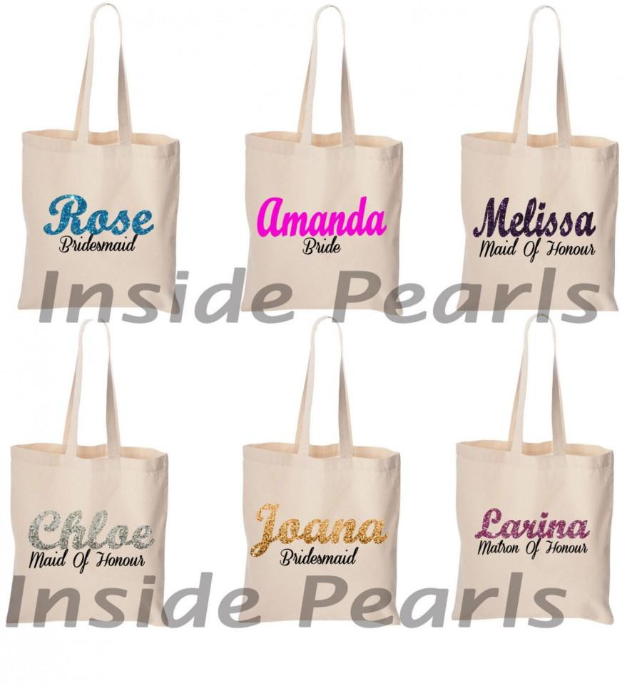 New Bridesmaid Bag Maid Of Honor Personalised With Name Tote Gift For Bridal Party
