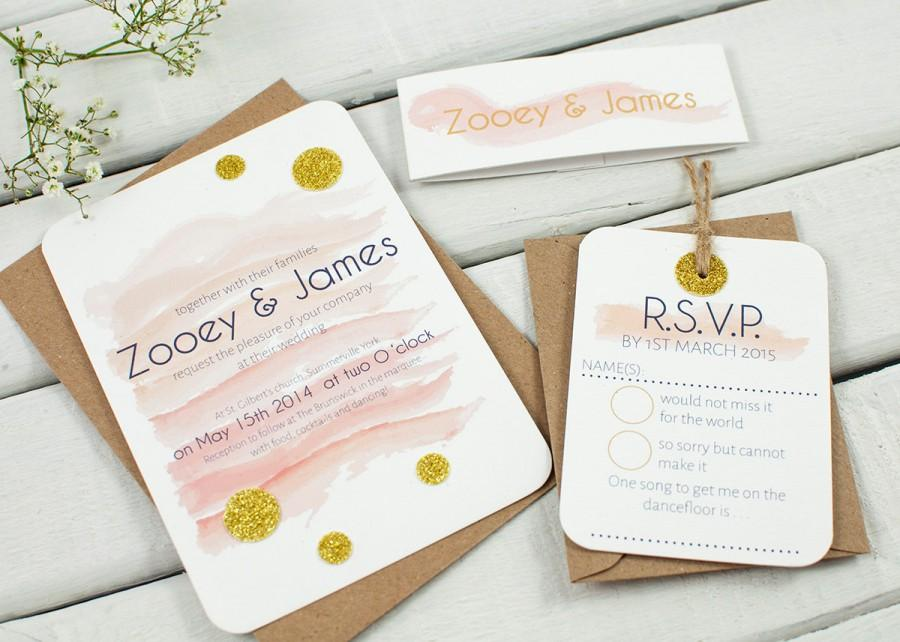 زفاف - Watercolour wedding invitation - peach pink coral gold glitter