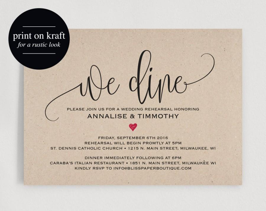 picture regarding Printable Rehearsal Dinner Invitations called Rehearsal Evening meal Invitation, Rehearsal Supper Invitation