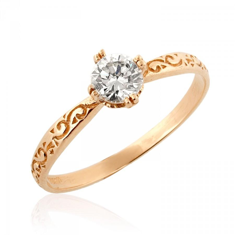 gold engagement ring 18k gold ring solitaire