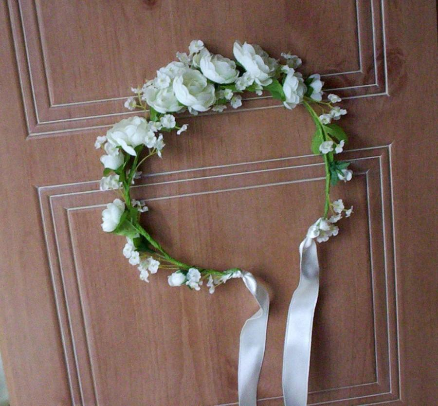 Wedding - Bridal party Wedding Accessories silk flower Crown romantic Bridal floral headpiece Ivory ranunculus Rustic chic hair wreath headband