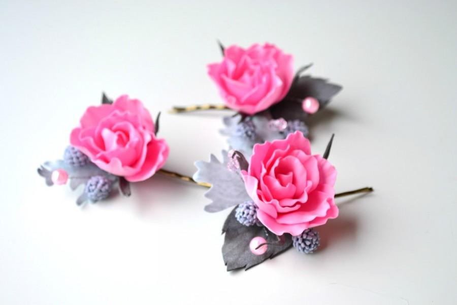Mariage - Set of 3 wedding bridal roses hair pins clips, shabby chic wedding flower floral pink grey roses hair pins clips headpiece accessories