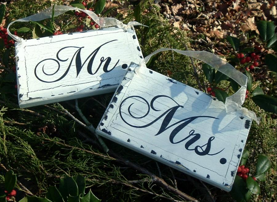 Mr Mrs Wedding Signs Chair Rustic Wood Painted
