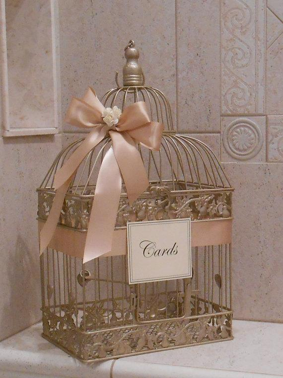 Large Champagne Gold And Blush Wedding Card Box Holder Birdcage Decor