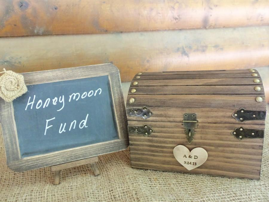 Rustic Wedding Box Set With Chalkboard Sign Honeymoon Fund Guest Book Alternative Personalized Heart Slot Lock Key All Inclusive