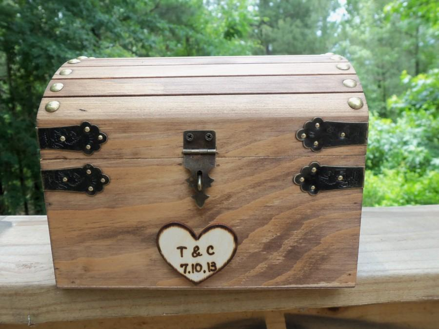 Mariage - Cute Rustic Wedding Box with Personalized Heart, Slot and Lock/Key Set - INCLUDED in the price - Guest Book Alt, Honeymoon Fund