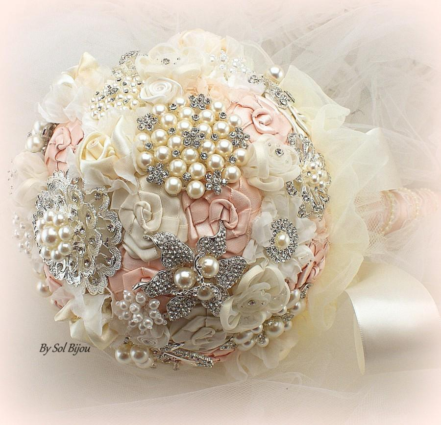 Mariage - Brooch Bouquet, Blush Bouquet, Cream, Ivory, Vintage Wedding, Elegant Wedding, Lace Bouquet, Jeweled, Crystals, Pearls, Fabric, Lace, Gatsby