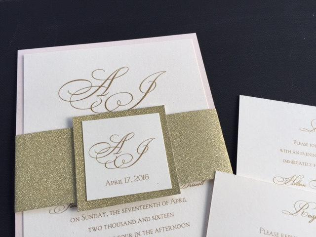 sle glitter wedding invitations glitter belly bands