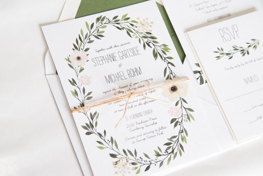 Свадьба - Watercolor Wreath Greenery Wedding Invitation:  STEPHANIE.