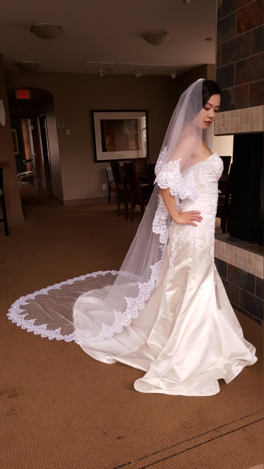 Hochzeit - Free Shipping Sale Ivory Bridal Cathedral Floor Length Veil Wedding Luxury Lace Eyelash Edge Sequins 2 Tier 2.7M With Comb Ready To Ship