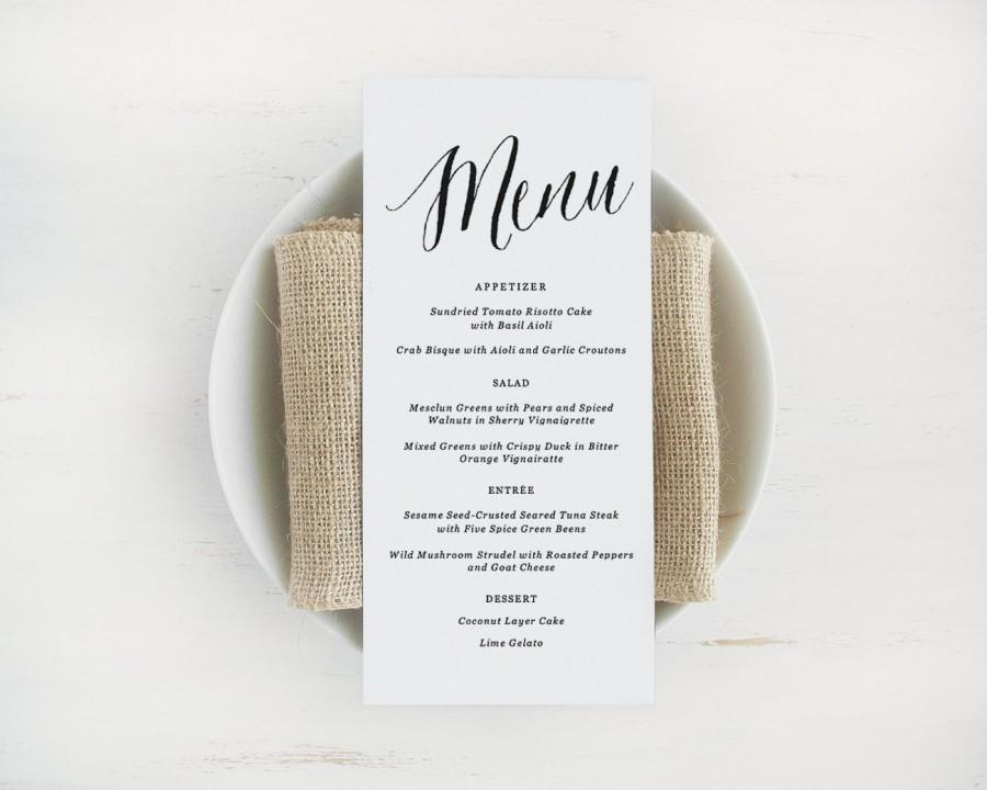 Printable Wedding Menu Template, Editable Text And Color, Instant Download,  Printable Menu, Edit In Word Or Pages  Free Menu Templates For Word