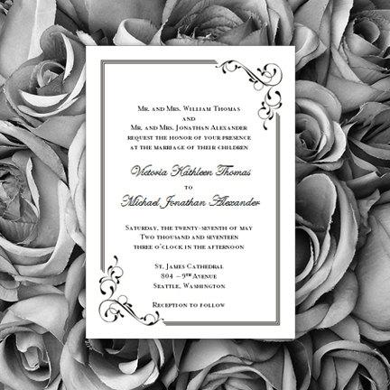 Black White Wedding Invitations Elegance Printable Worddoc Templates Instant Download ALL COLORS Available DIY You Print