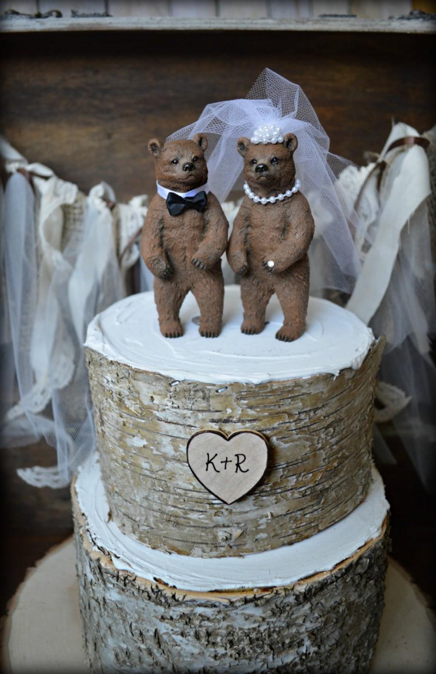 زفاف - Bear wedding cake topper-bears-bear lover-black bear-grizzley bear-brown bear-bear lover-bear wedding-rustic wedding-fall wedding-kissing