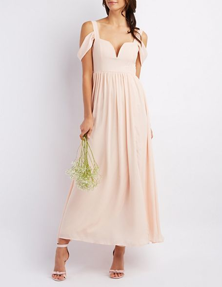 Hochzeit - Cold Shoulder Sweetheart Maxi Dress
