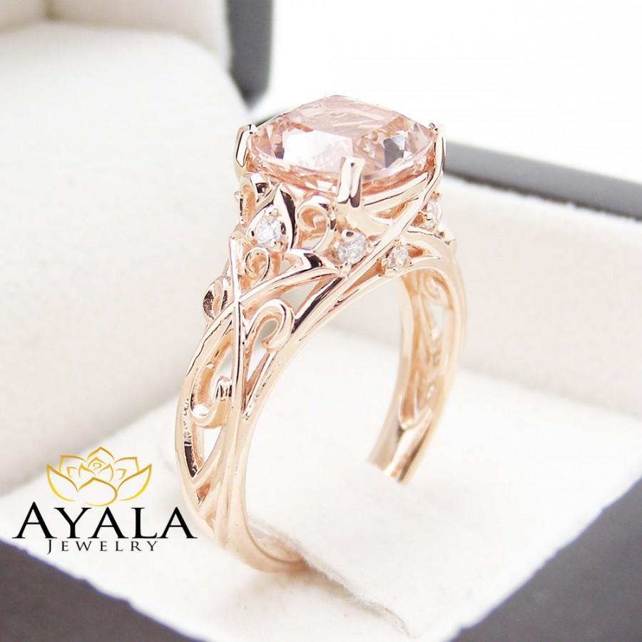 Peach Pink Morganite Engagement Ring 14k Rose Gold Cushion Ring