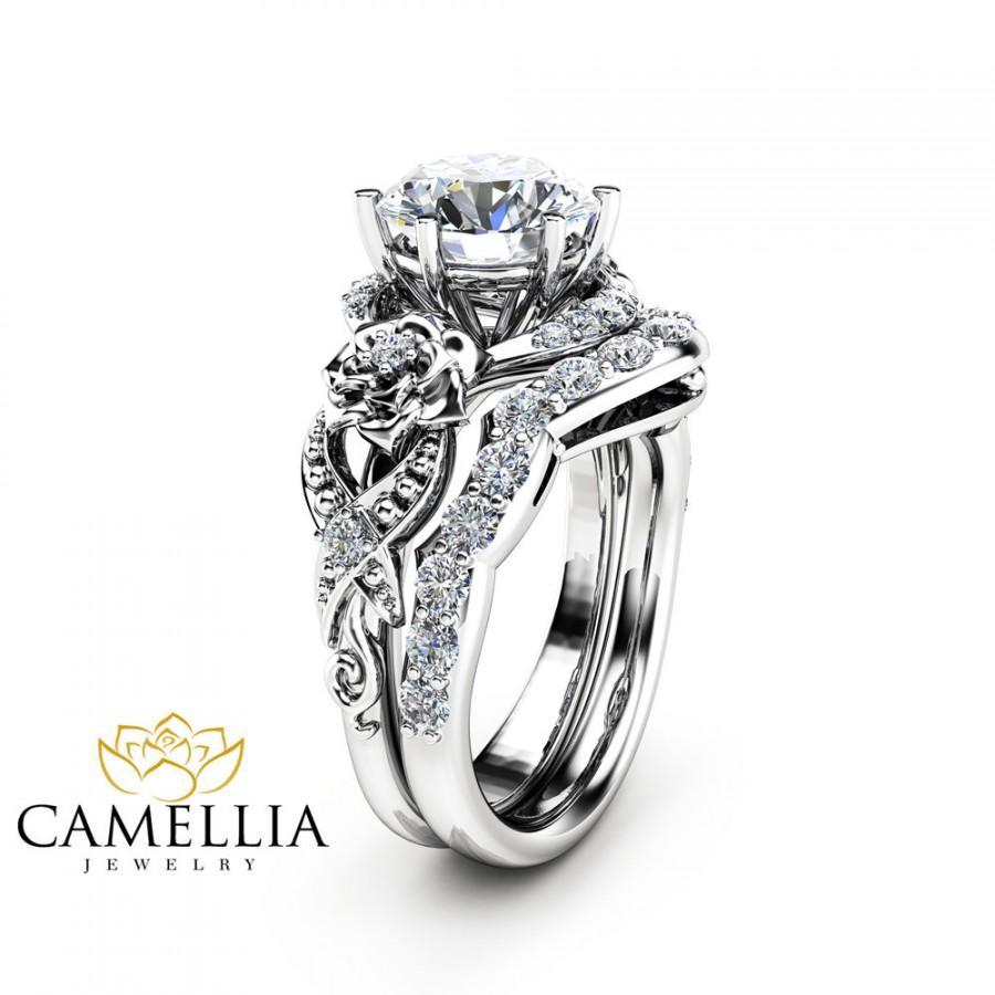 Moissanite Engagement Ring Set 14k White Gold Moissanite Ring Floral