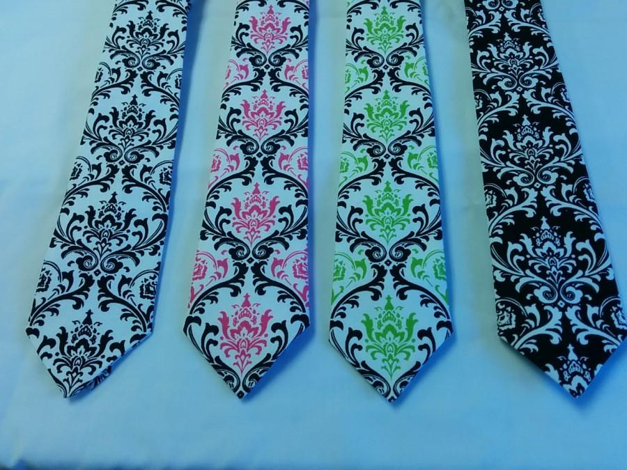Wedding - DAMASK TIE or HANKY Colors cotton damask necktie - pocket square black white fuchsia lime wedding groom men boys toddler big tall Maddy tie