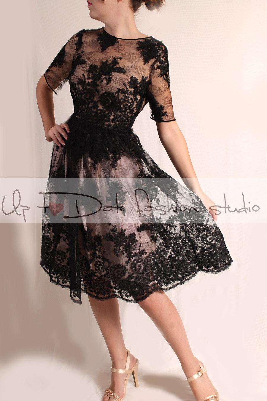 Boda - Wedding party black /knee length /lace dress/ 3/4 Sleeves /open back/ Bridal Gown