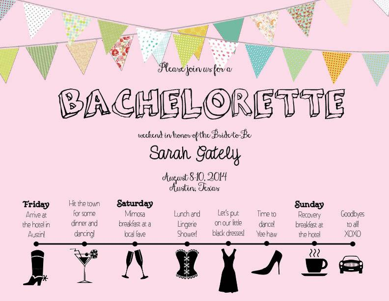 Beautiful Bachelorette Invite With Timeline Itinerary #2512191 ...