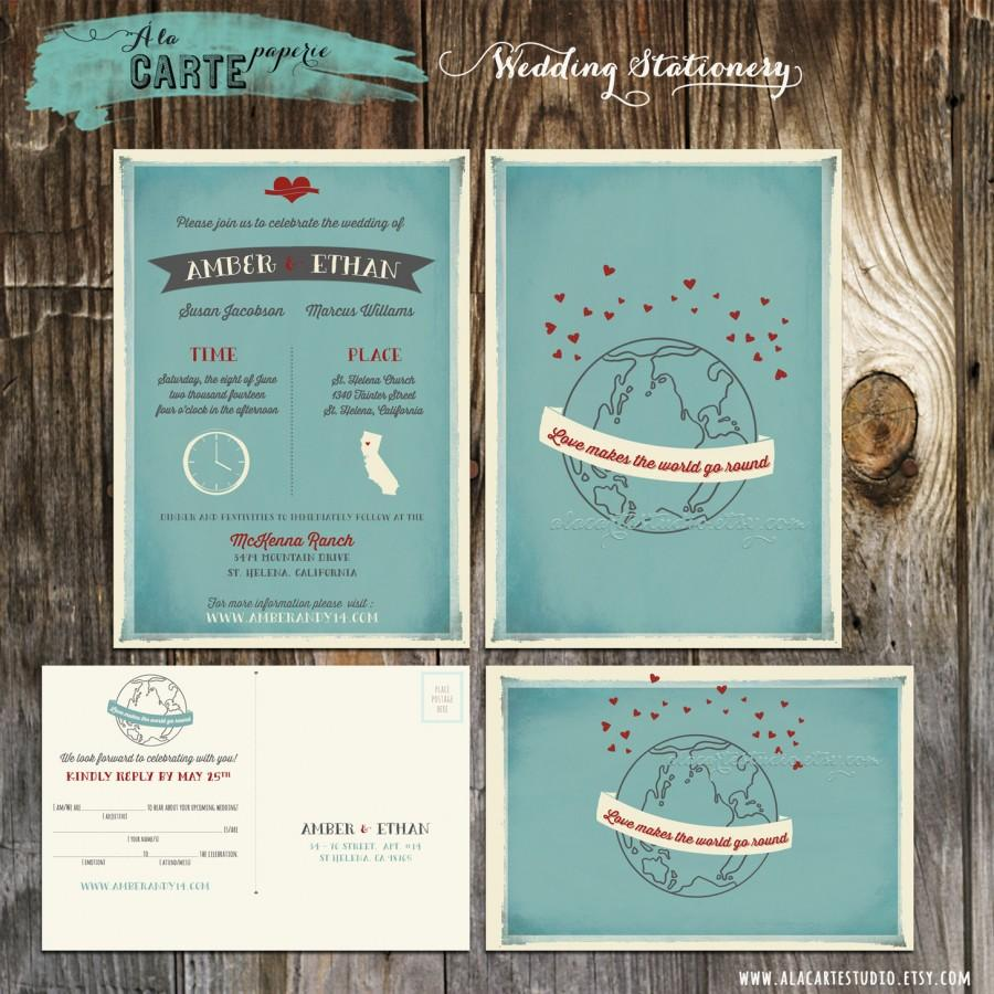 Mariage - Love makes the World go round Wedding Invitation and RSVP Card Offbeat Modern Cute wedding invite