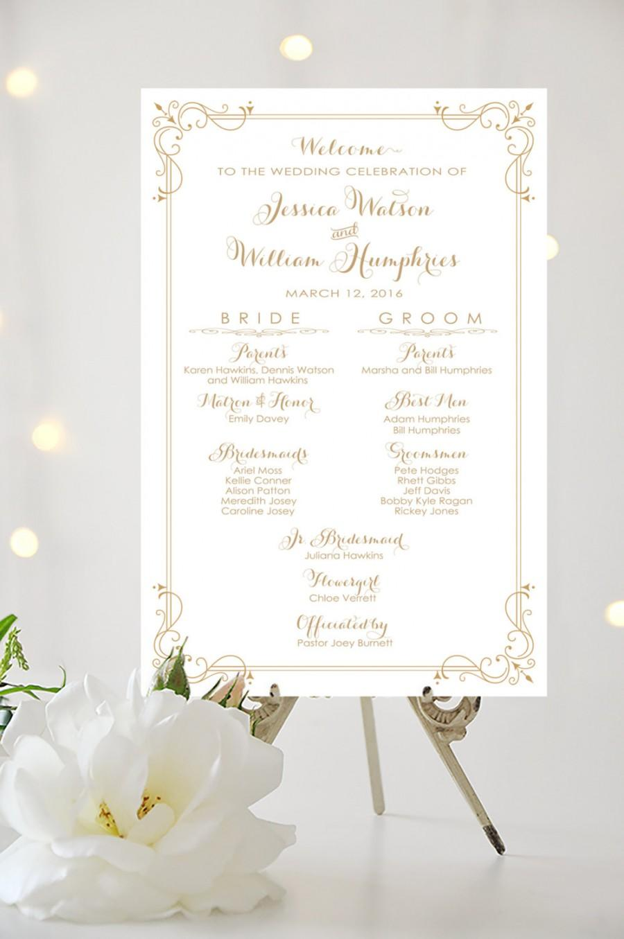 Wedding Program Sign - Bridal Party Poster