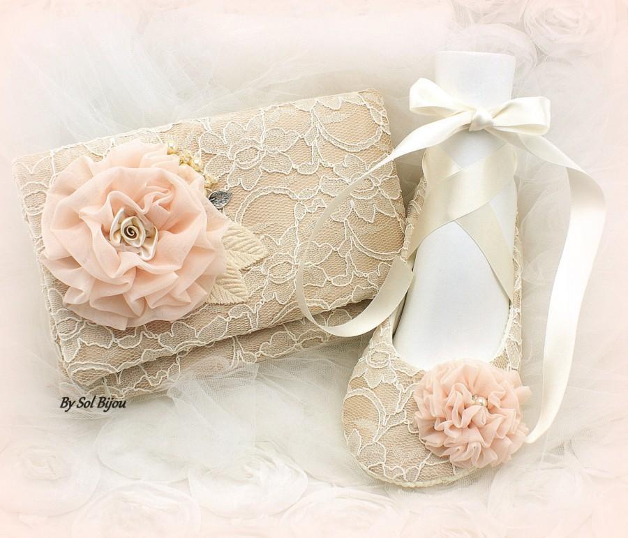 Mariage - Clutch, Ballet Flats, Ivory, Blush, Champagne, Shoes, Handbag, Elegant Wedding, Ballet Slippers, Flats, Bag, Lace, Pearls, Vintage Style