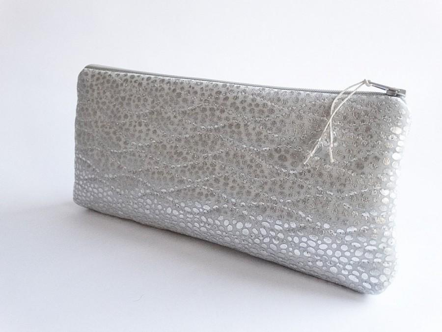 Hochzeit - Metallic Glitter Bride Clutch, Winter Wedding Purse, Sparkling Silver Bag, Statement Event Clutch, Romantic Gift for Her