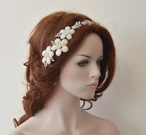 Mariage - Wedding Hair Accessory, Bridal Headbands, Rhinestone and Pearl Headaband, Bridal Hair Accessories
