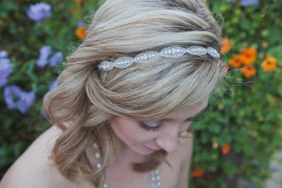 Mariage - Rhinestone bridal headband, wedding headband, wedding hair accessories, crystal headband, Bridal Headpiece, bridesmaid, Flower Girl, Prom