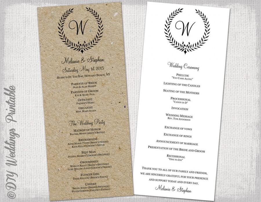 Wedding Program Template Rustic Black Leaf Garland Printable