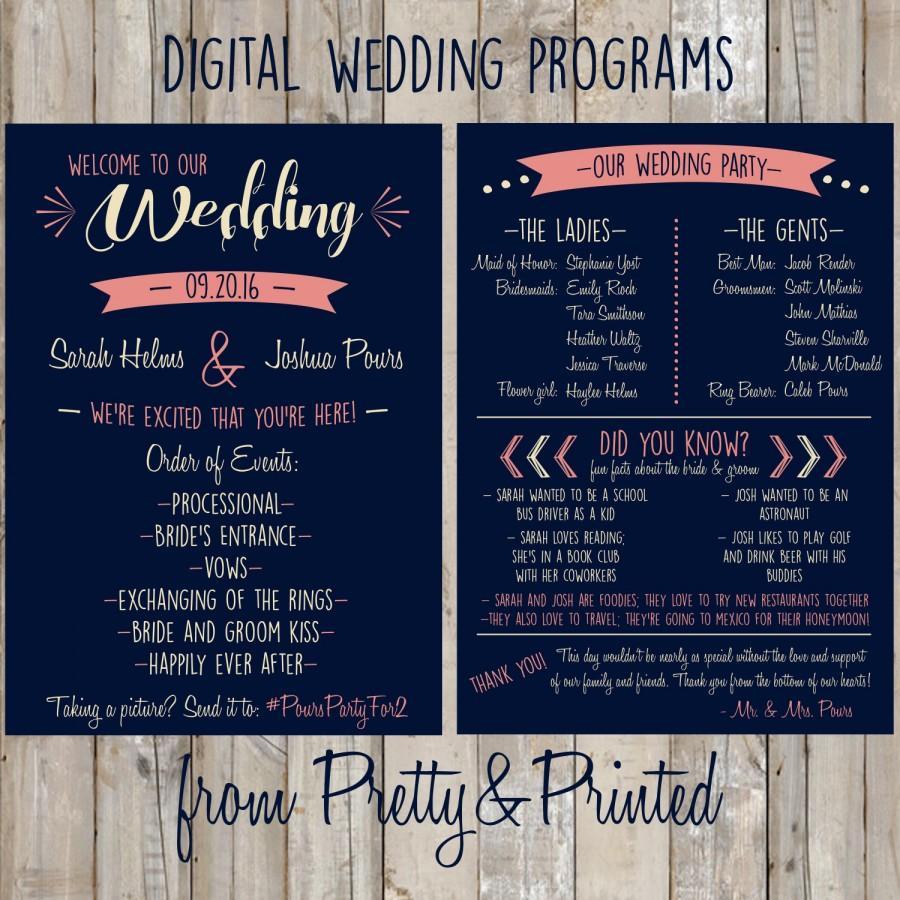 Hochzeit - Customized Wedding Program
