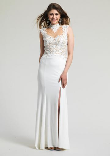 Wedding - High-neck Split Front Open Back White Appliques Chiffon Floor Length Sleeveless