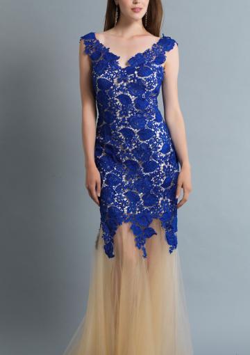 Wedding - Sleeveless Sheath V-neck Appliques Tulle Floor Length Lace Up