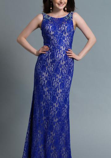 Mariage - Floor Length Blue Sleeveless Straps A-line Ruched Backless Lace