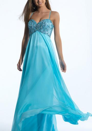 Mariage - Ruched Floor Length Crystals Beading Blue Spaghetti Straps Chiffon Sleeveless